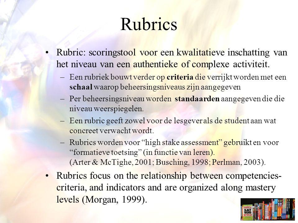Rubrics Rubric: scoringstool voor een kwalitatieve inschatting van het niveau van een authentieke of complexe activiteit.