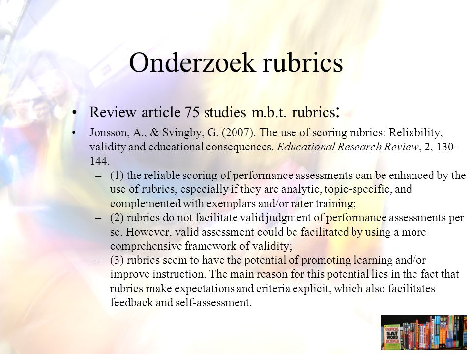 Onderzoek rubrics Review article 75 studies m.b.t. rubrics: