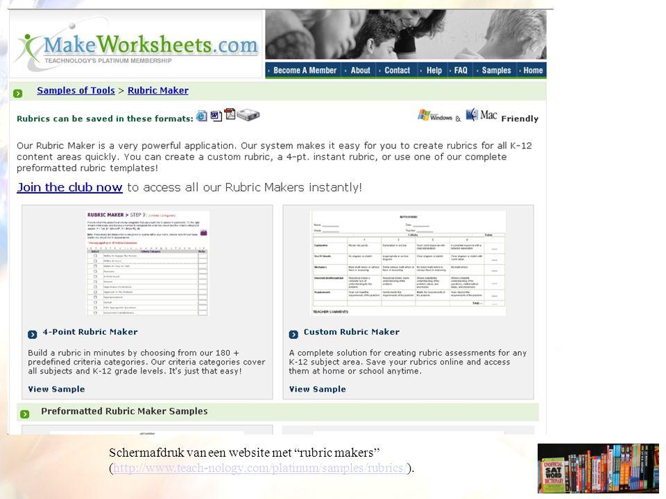 Schermafdruk van een website met rubric makers (http://www