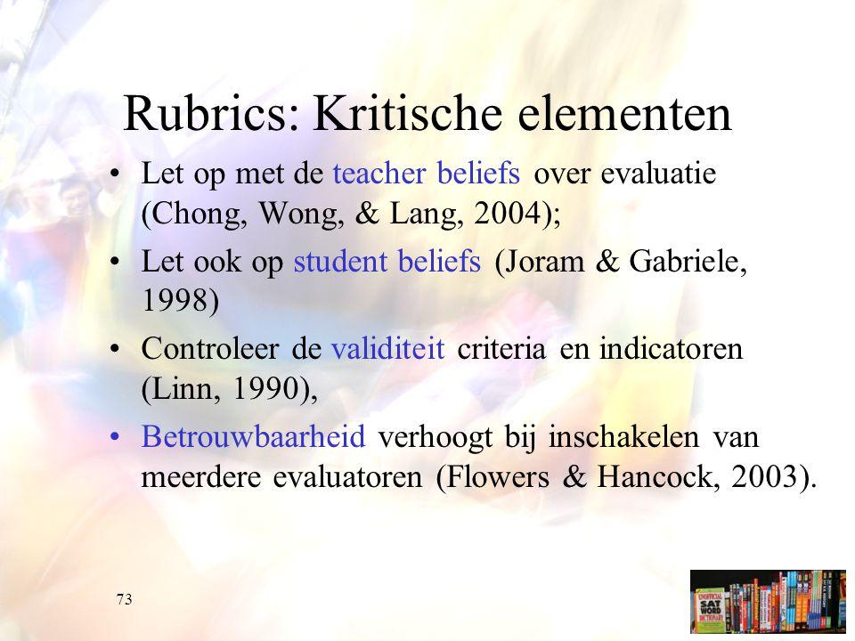Rubrics: Kritische elementen