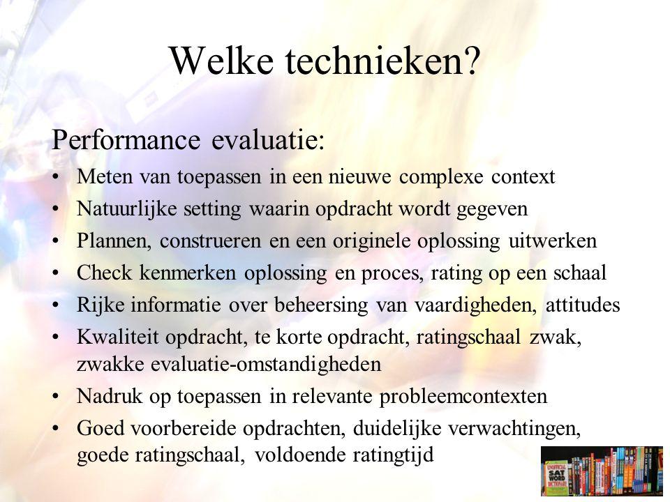 Welke technieken Performance evaluatie: