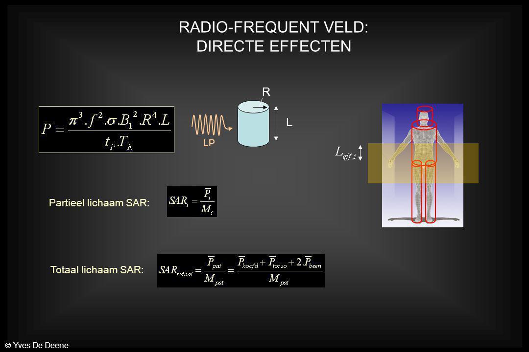 RADIO-FREQUENT VELD: DIRECTE EFFECTEN R L Partieel lichaam SAR: