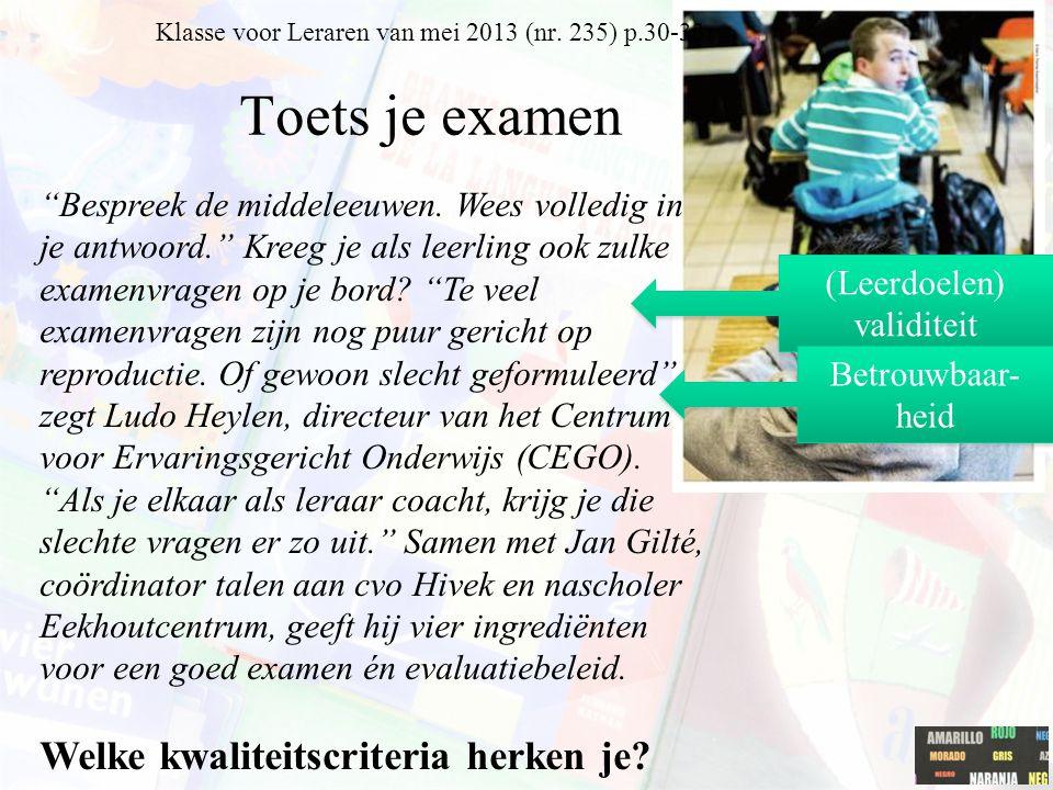 Klasse voor Leraren van mei 2013 (nr. 235) p.30-33 Toets je examen