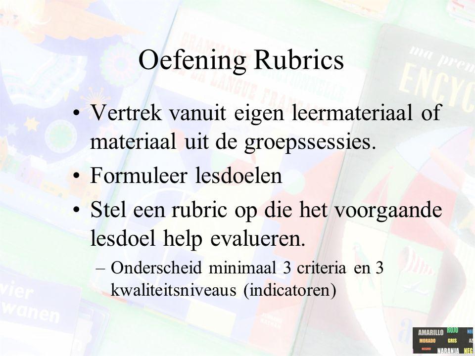Oefening Rubrics Vertrek vanuit eigen leermateriaal of materiaal uit de groepssessies. Formuleer lesdoelen.
