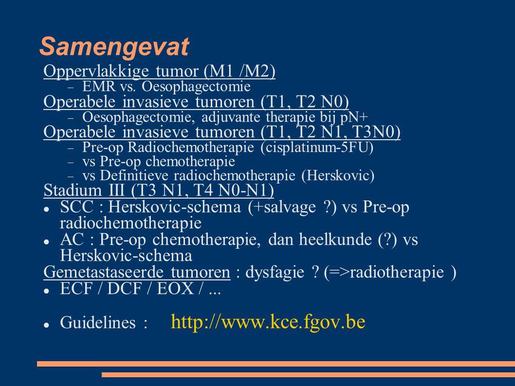 Samengevat Oppervlakkige tumor (M1 /M2)