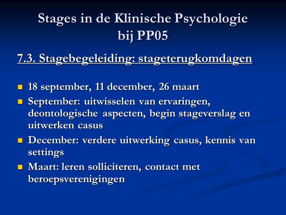 Stages in de Klinische Psychologie bij PP05