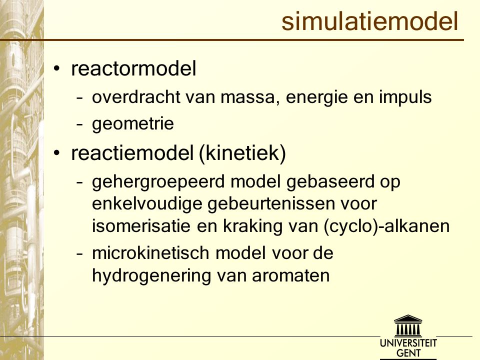 simulatiemodel reactormodel reactiemodel (kinetiek)