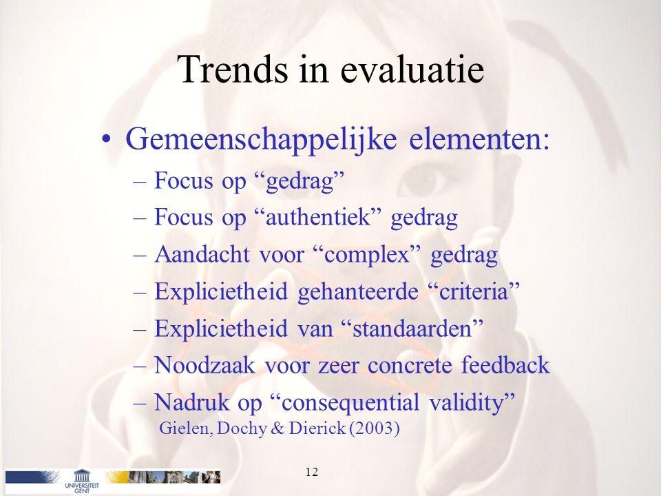 Trends in evaluatie Gemeenschappelijke elementen: Focus op gedrag