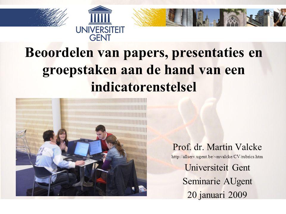 Beoordelen van papers, presentaties en groepstaken aan de hand van een indicatorenstelsel