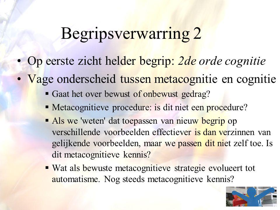 Begripsverwarring 2 Op eerste zicht helder begrip: 2de orde cognitie