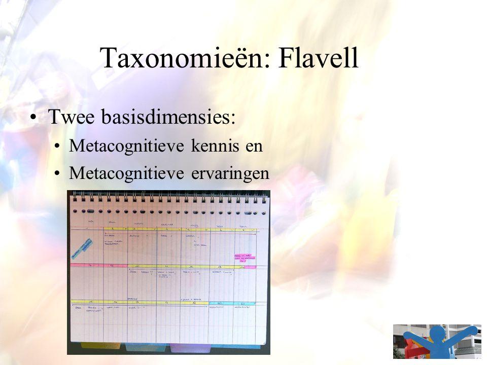Taxonomieën: Flavell Twee basisdimensies: Metacognitieve kennis en