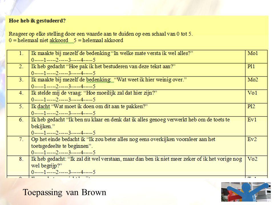 Toepassing van Brown