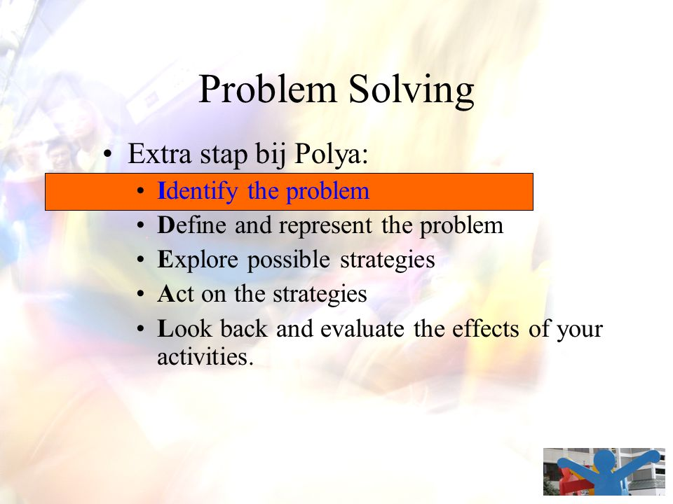 Problem Solving Extra stap bij Polya: Identify the problem
