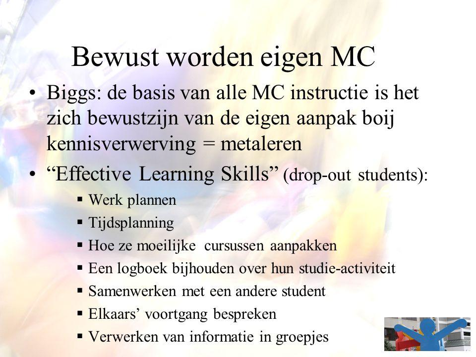 Bewust worden eigen MC Biggs: de basis van alle MC instructie is het zich bewustzijn van de eigen aanpak boij kennisverwerving = metaleren.