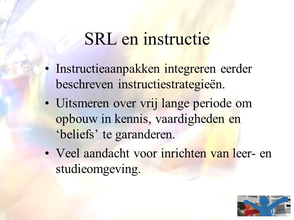 SRL en instructie Instructieaanpakken integreren eerder beschreven instructiestrategieën.