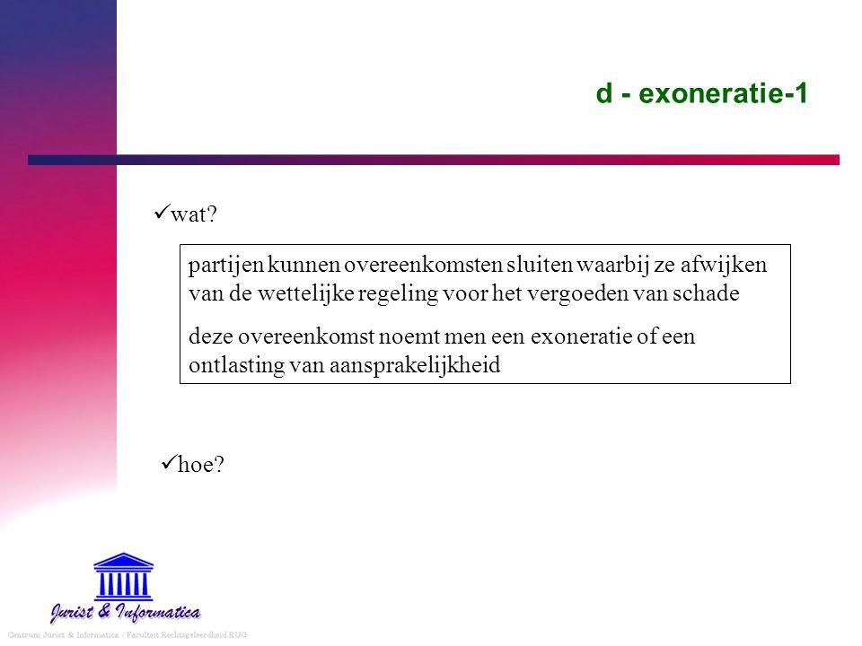 d - exoneratie-1 wat partijen kunnen overeenkomsten sluiten waarbij ze afwijken van de wettelijke regeling voor het vergoeden van schade.