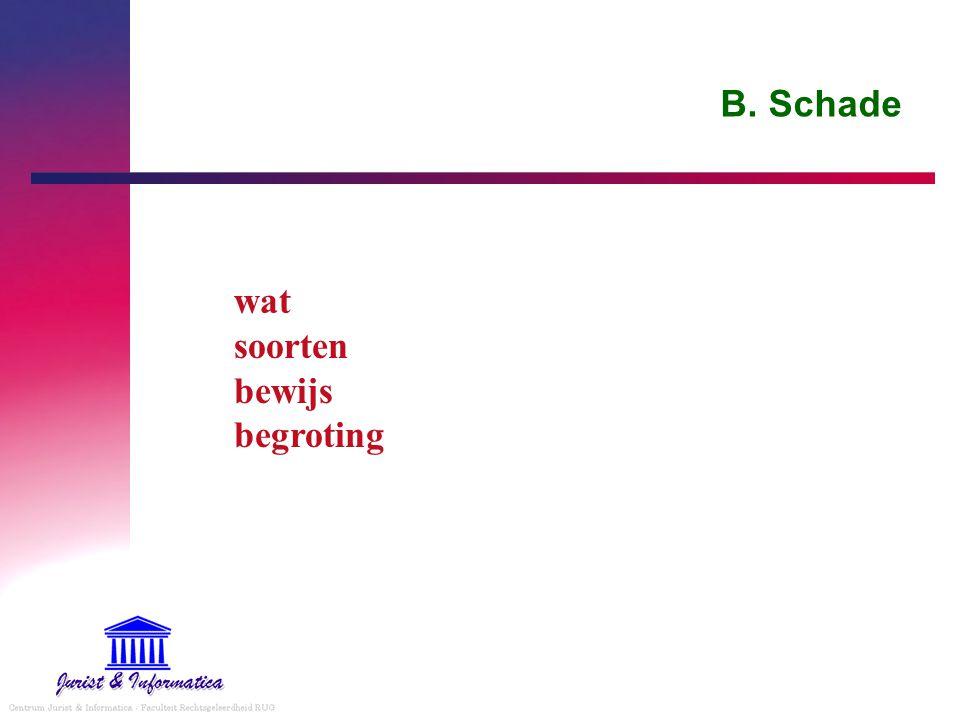 B. Schade wat soorten bewijs begroting