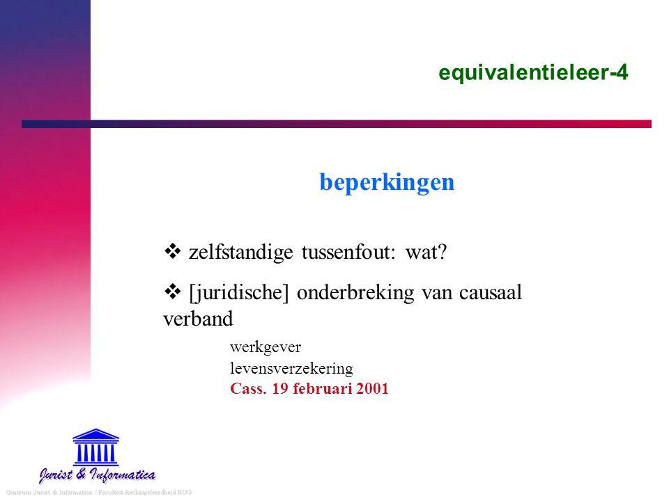 beperkingen equivalentieleer-4 zelfstandige tussenfout: wat