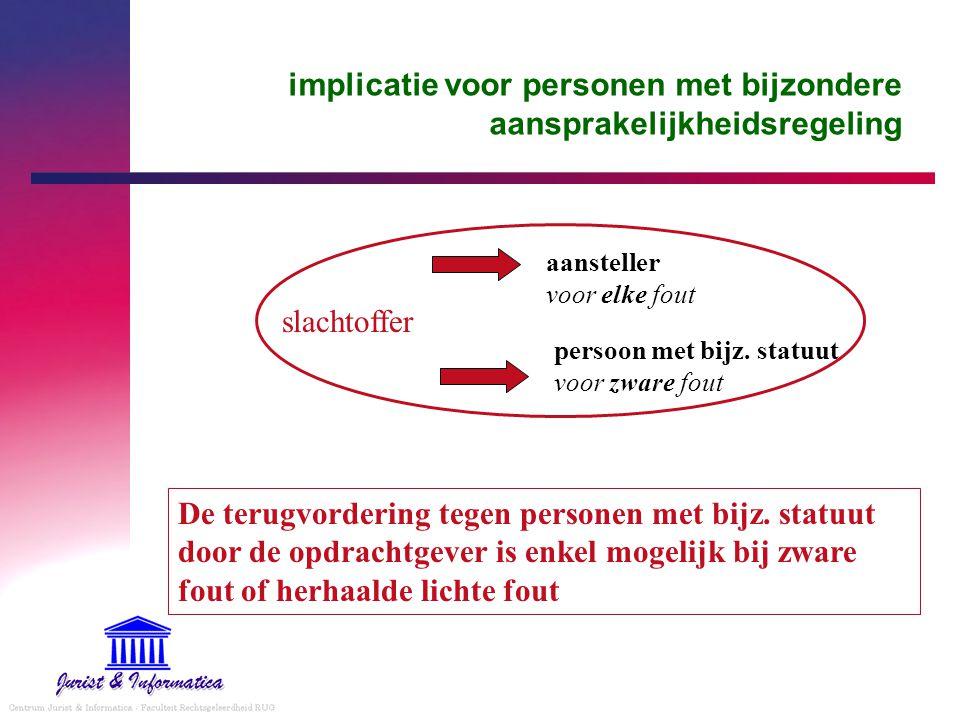 implicatie voor personen met bijzondere aansprakelijkheidsregeling