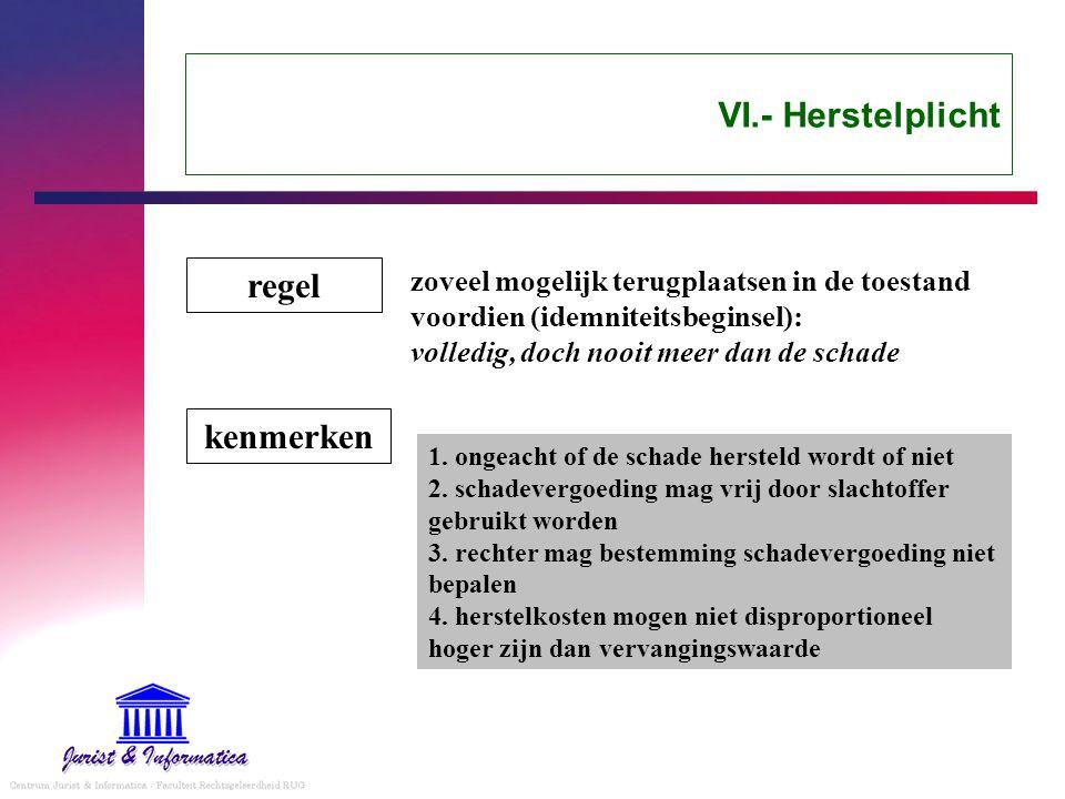 VI.- Herstelplicht regel kenmerken
