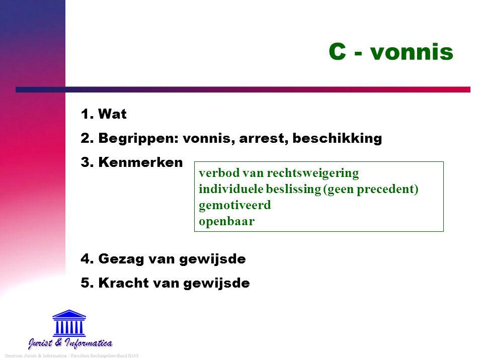 C - vonnis 1. Wat 2. Begrippen: vonnis, arrest, beschikking