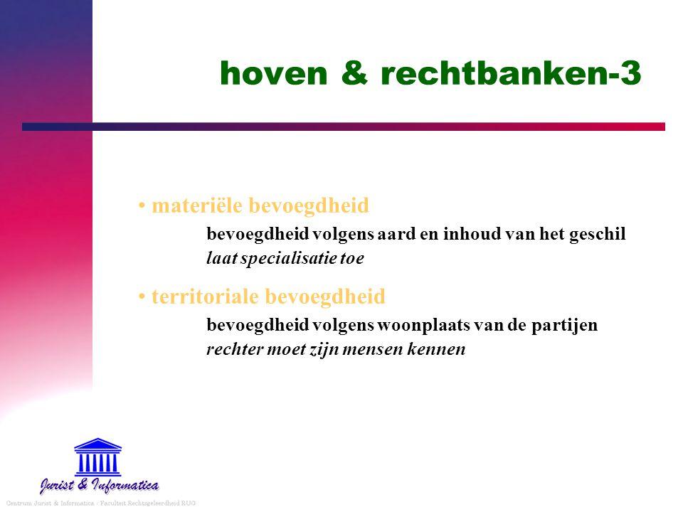 hoven & rechtbanken-3 materiële bevoegdheid bevoegdheid volgens aard en inhoud van het geschil laat specialisatie toe.