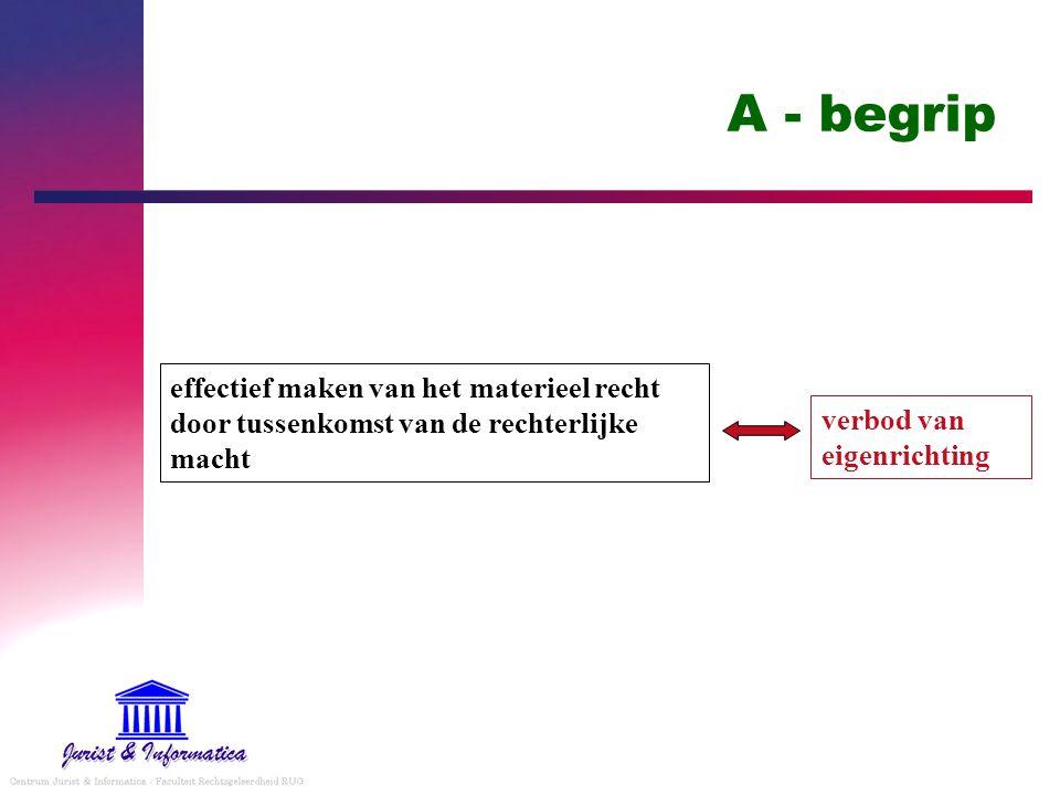 A - begrip effectief maken van het materieel recht door tussenkomst van de rechterlijke macht.