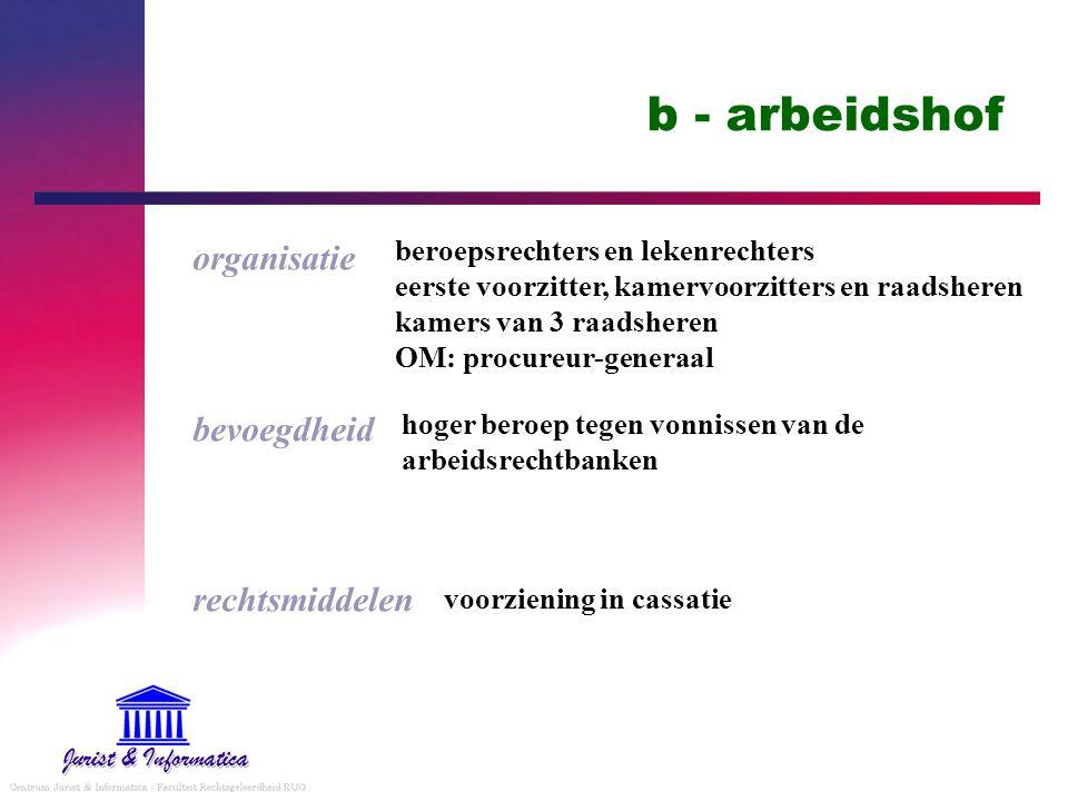 b - arbeidshof organisatie bevoegdheid rechtsmiddelen