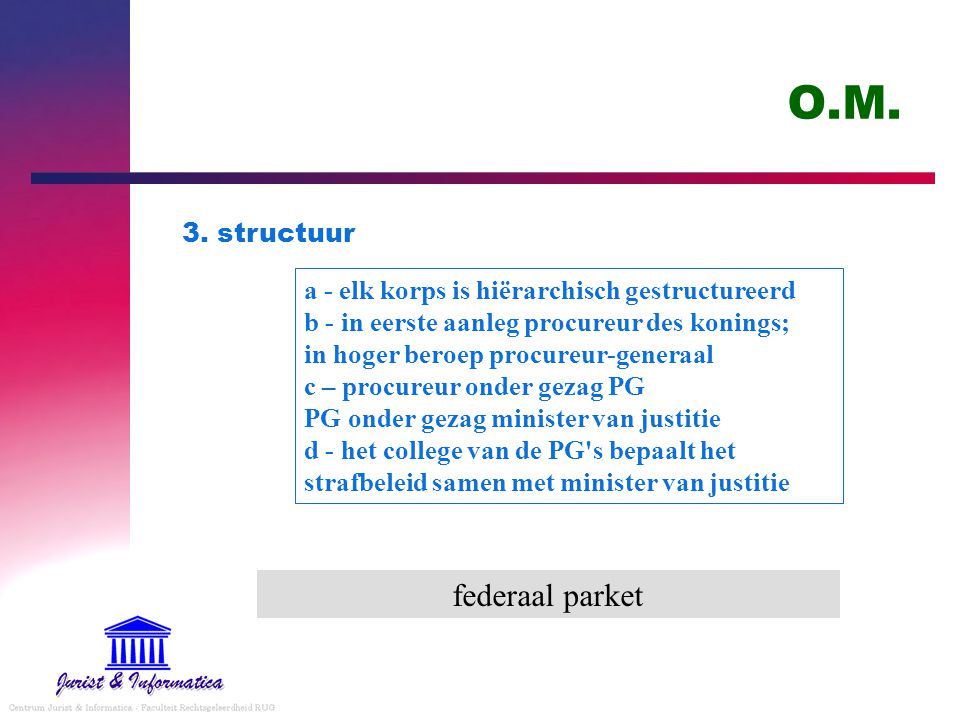 O.M. federaal parket 3. structuur