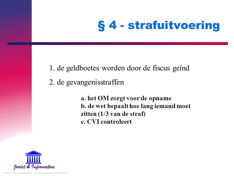 § 4 - strafuitvoering 1. de geldboetes worden door de fiscus geïnd