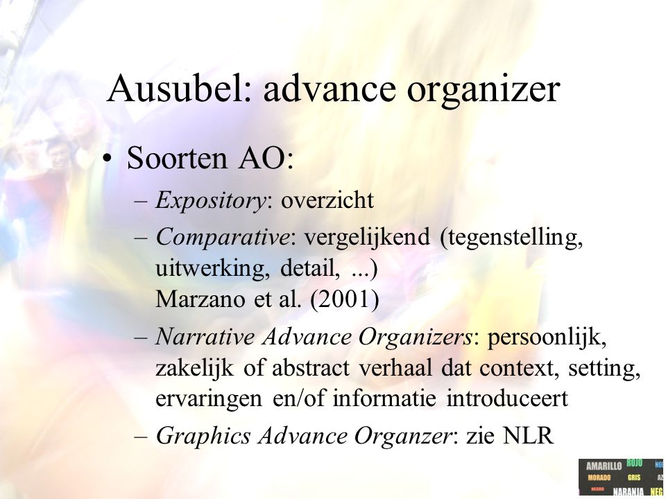 Ausubel: advance organizer