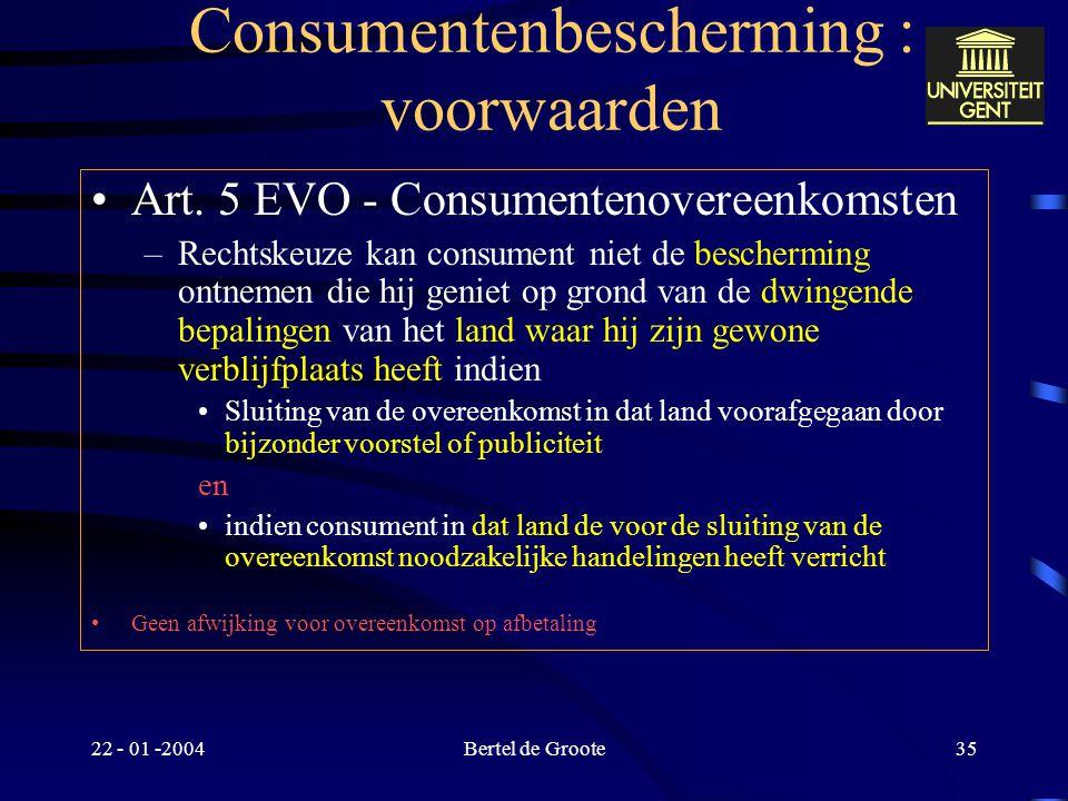 Consumentenbescherming : voorwaarden
