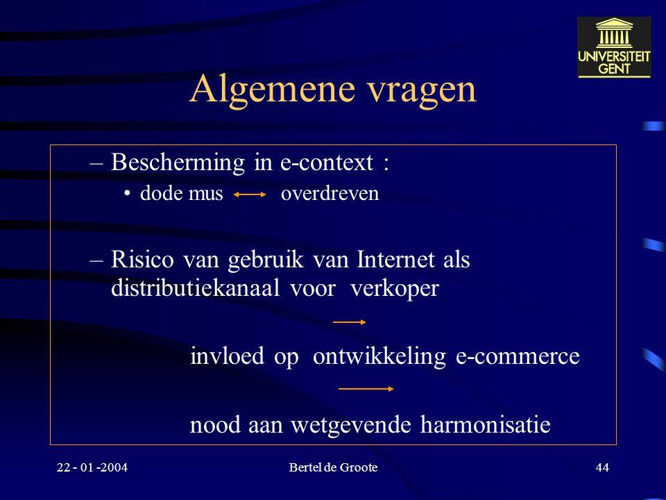 Algemene vragen Bescherming in e-context :