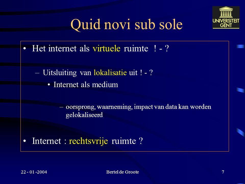Quid novi sub sole Het internet als virtuele ruimte ! -