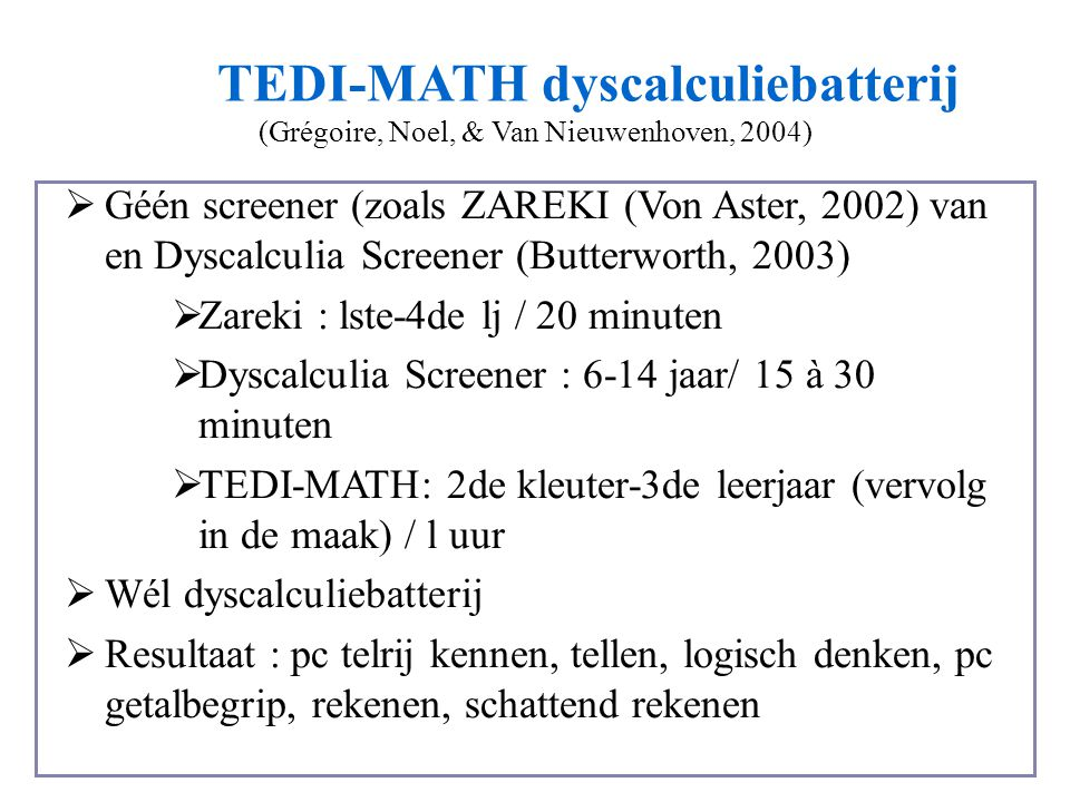 TEDI-MATH dyscalculiebatterij