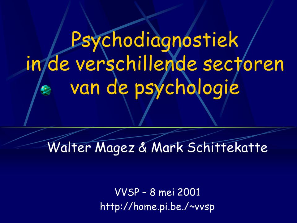 Psychodiagnostiek in de verschillende sectoren van de psychologie
