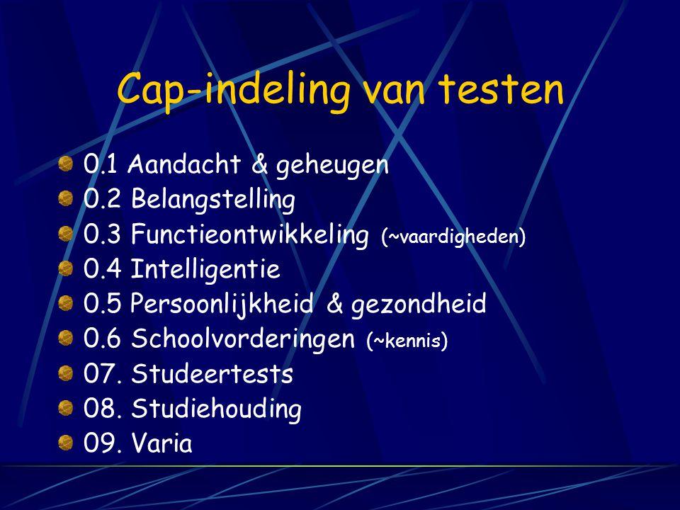 Cap-indeling van testen