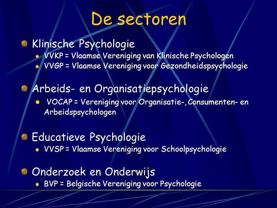 De sectoren Klinische Psychologie Arbeids- en Organisatiepsychologie