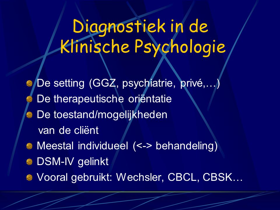 Diagnostiek in de Klinische Psychologie