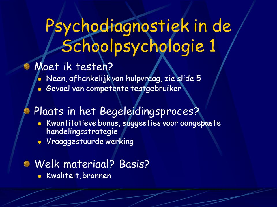 Psychodiagnostiek in de Schoolpsychologie 1