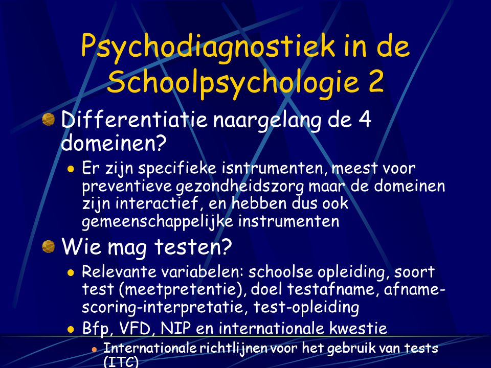Psychodiagnostiek in de Schoolpsychologie 2
