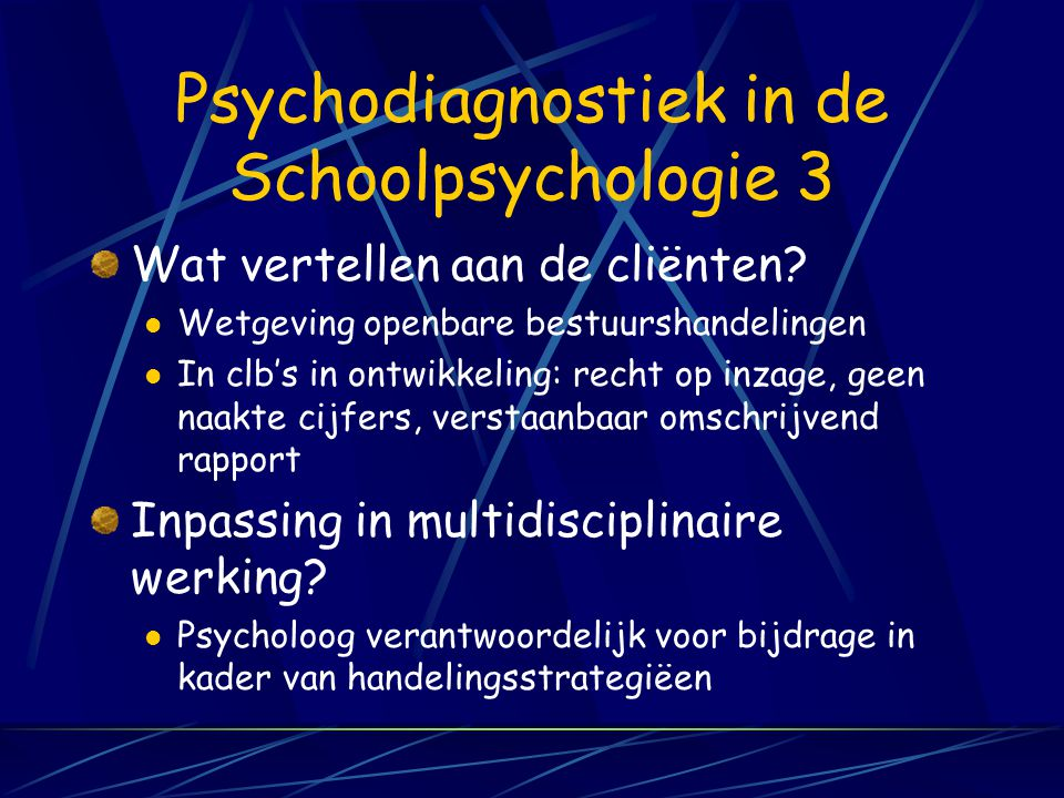 Psychodiagnostiek in de Schoolpsychologie 3