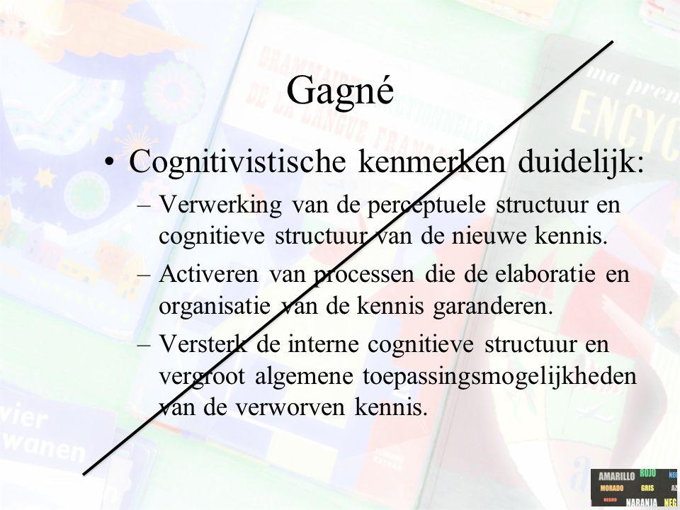 Gagné Cognitivistische kenmerken duidelijk: