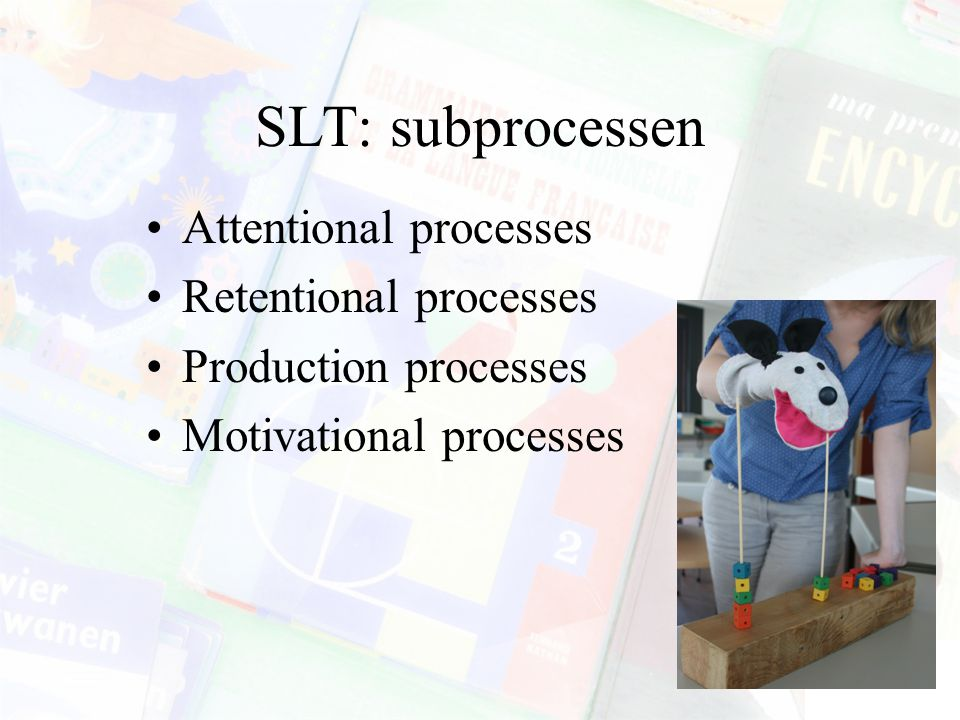 SLT: subprocessen Attentional processes Retentional processes