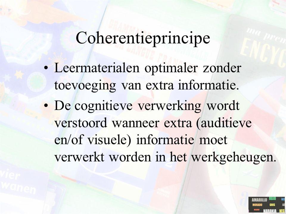 Coherentieprincipe Leermaterialen optimaler zonder toevoeging van extra informatie.