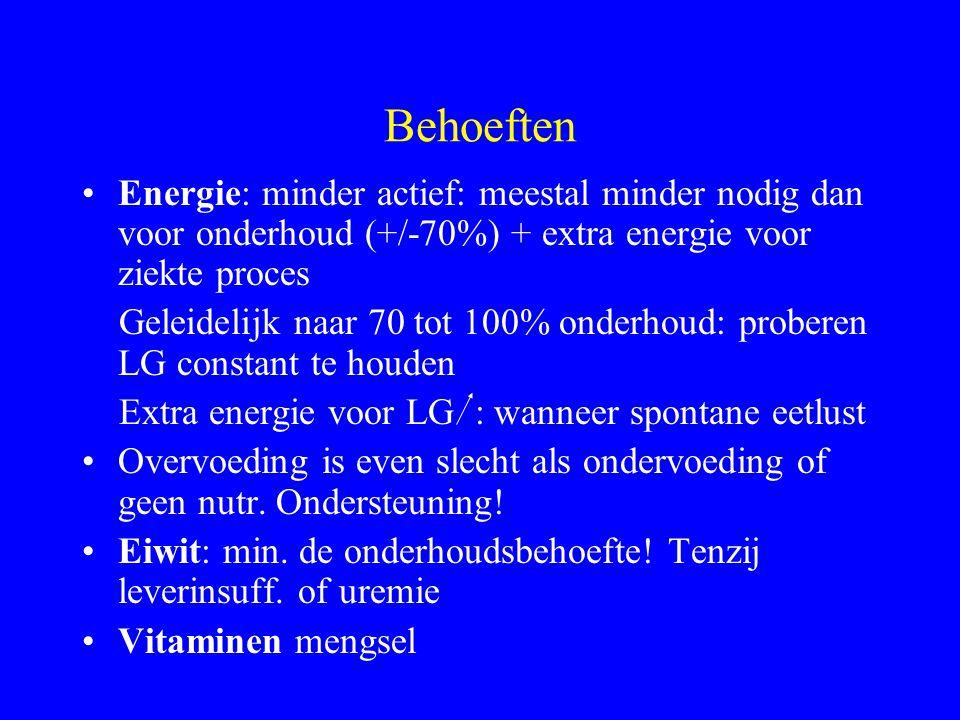 Behoeften Energie: minder actief: meestal minder nodig dan voor onderhoud (+/-70%) + extra energie voor ziekte proces.