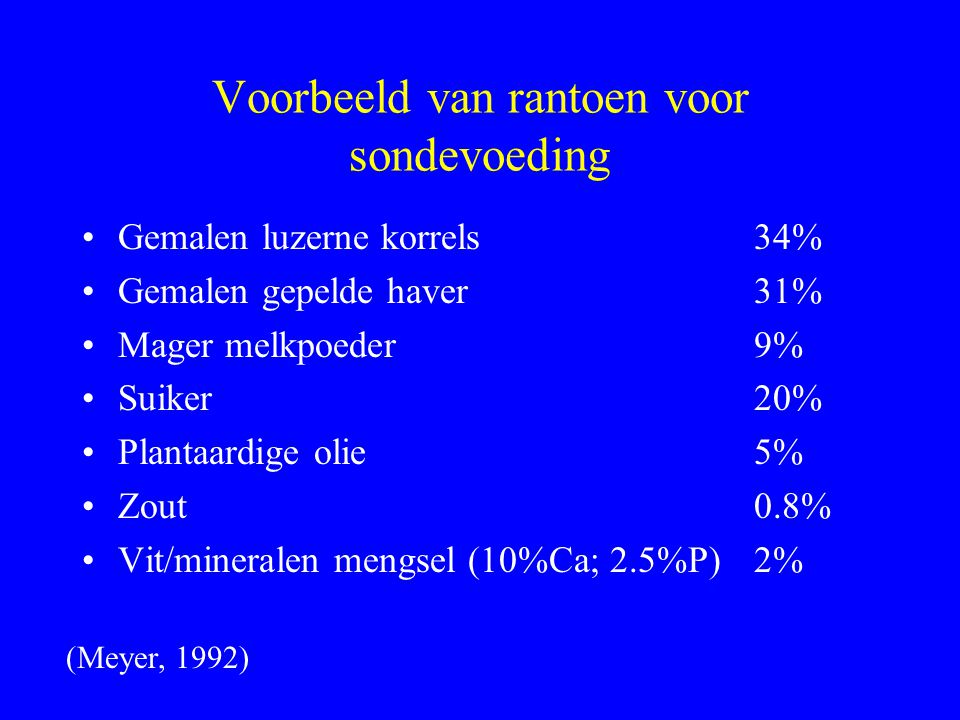 Voorbeeld van rantoen voor sondevoeding