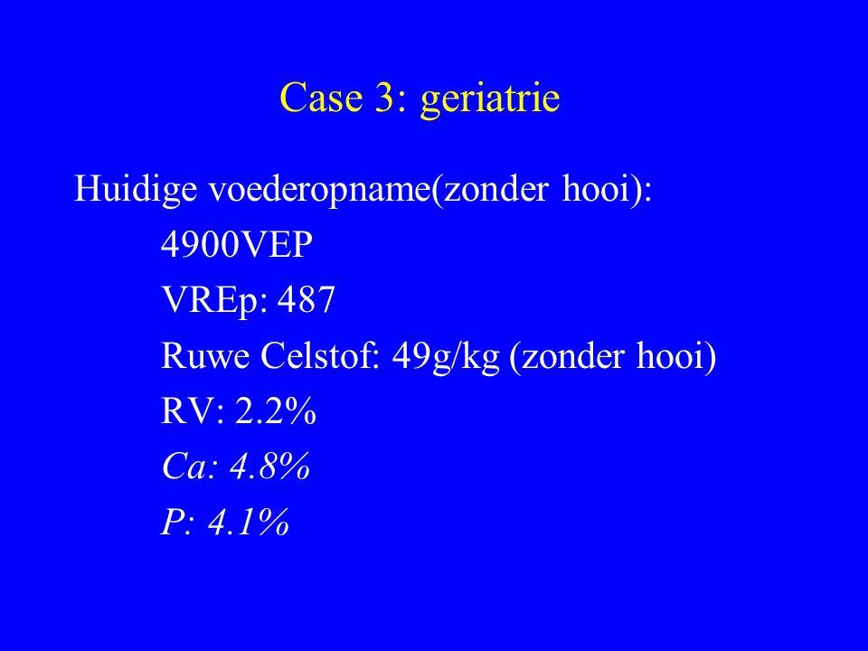 Case 3: geriatrie Huidige voederopname(zonder hooi): 4900VEP VREp: 487