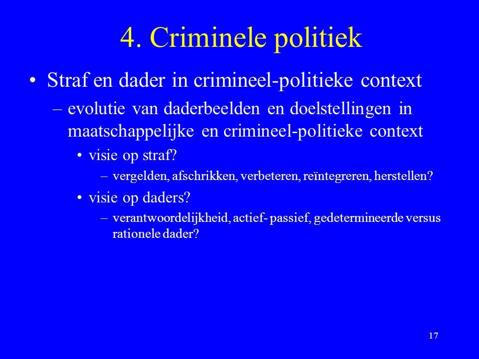 4. Criminele politiek Straf en dader in crimineel-politieke context