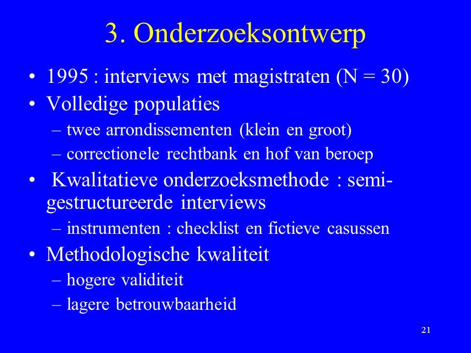 3. Onderzoeksontwerp 1995 : interviews met magistraten (N = 30)